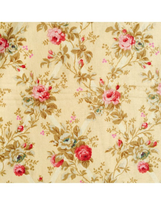 Tela patchwork rosas rojas -10 x 114 cm