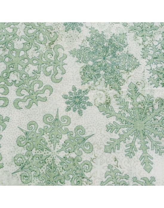 Tela patchwork flores  verde y beige -10 x 114 cm