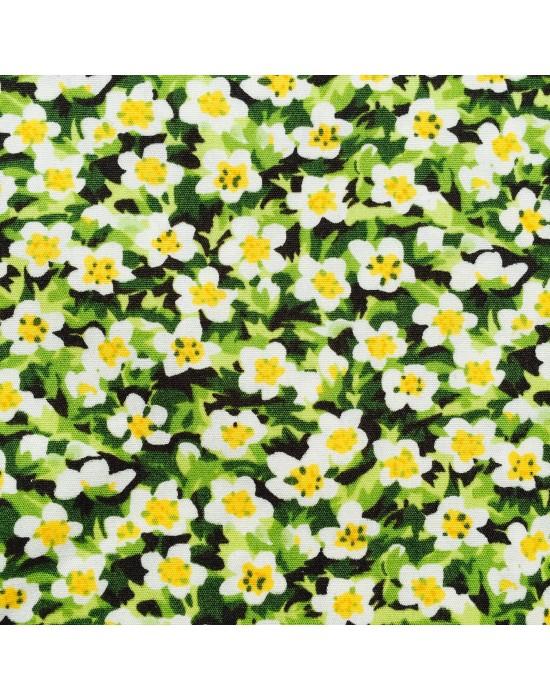 Tela patchwork flores blancas y amarillas  - 10 x 114 cm