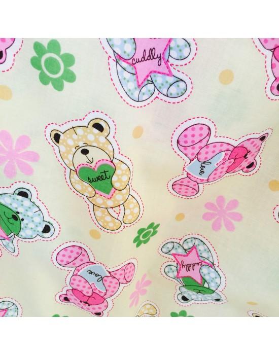 Tela patchwork osos y flores - 10 x 160cm