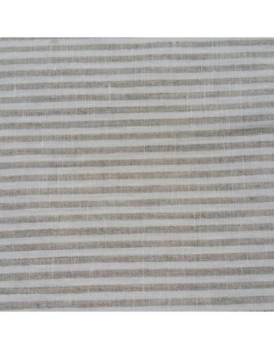 Lino de algodón rayado natural