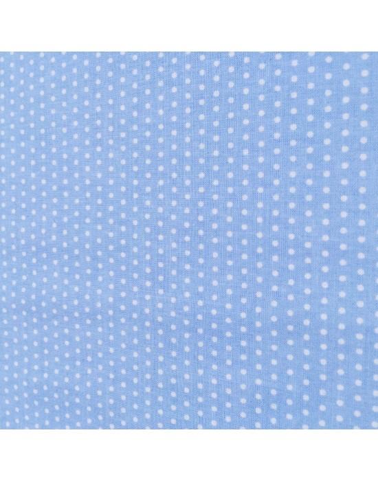 Tela patchwork azul con lunares blancos
