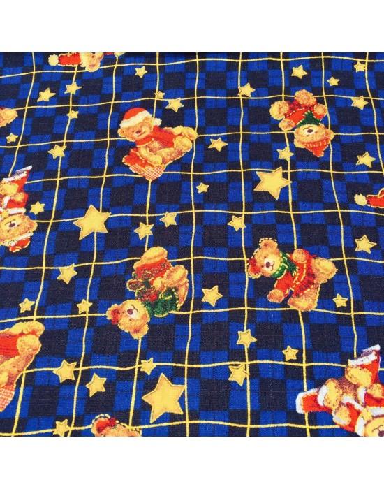Tela Navidad con ositos y estrellas - 10 x 114 cm