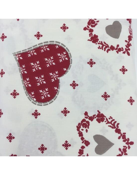 Tela Navidad corazones grandes -10 x 114 cm