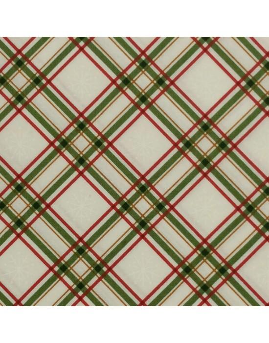 Tela Navidad con rayas y cuadros - 10 x 114 cm