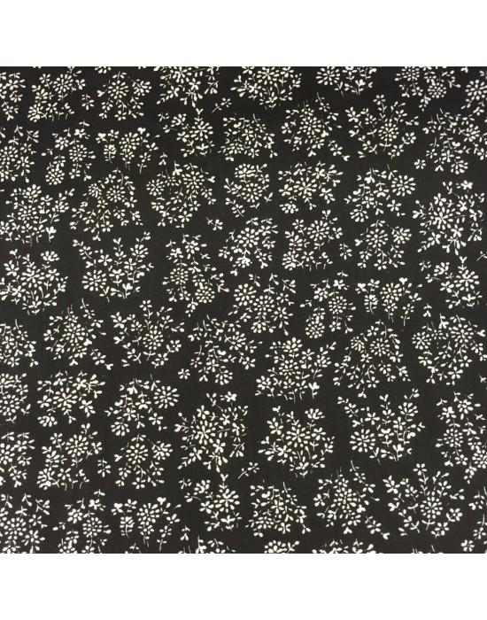 Tela negra con estampado flores blancas