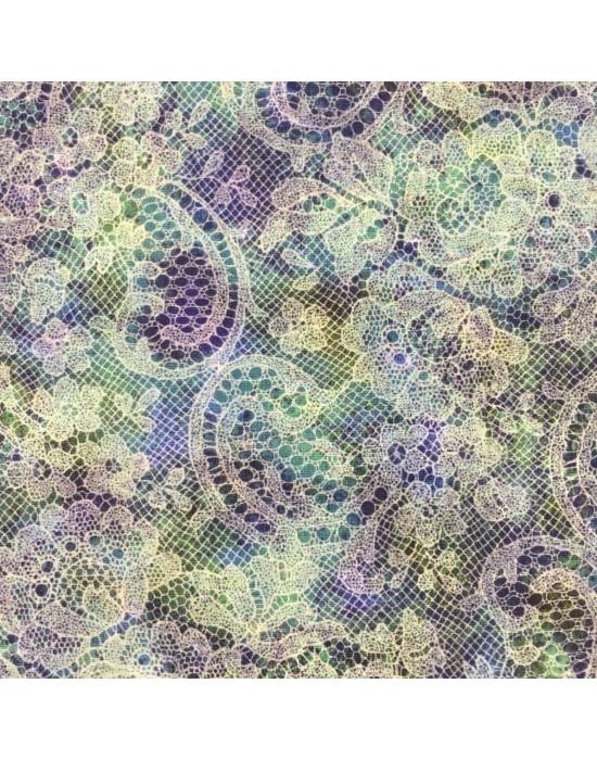 Tela patchwork flores sobre encajes azulones -10 x 114 cm