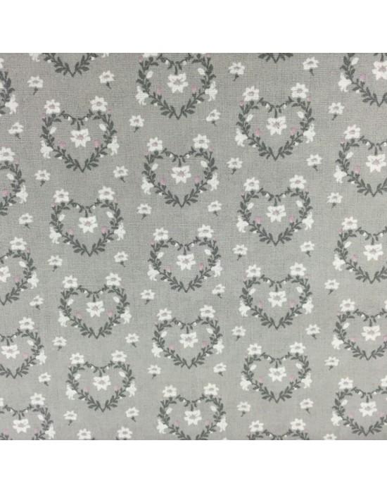Tela patchwork flores sobre fondo gris - 10 x 114 cm
