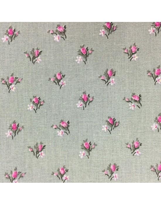 Tela patchwork gris claro con flores rosas