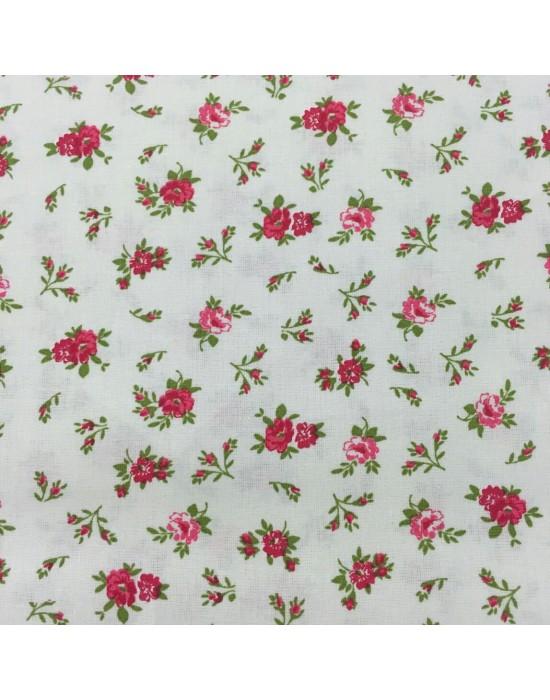 Tela patchwork crema estampado flores rojas
