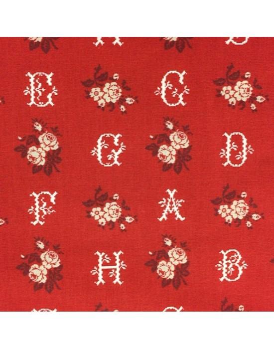 Tela patchwork roja con letras y flores - 10 x 114 cm