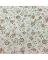 Tela patchwork  blanca con flores verdes y marrones -10 114 cm