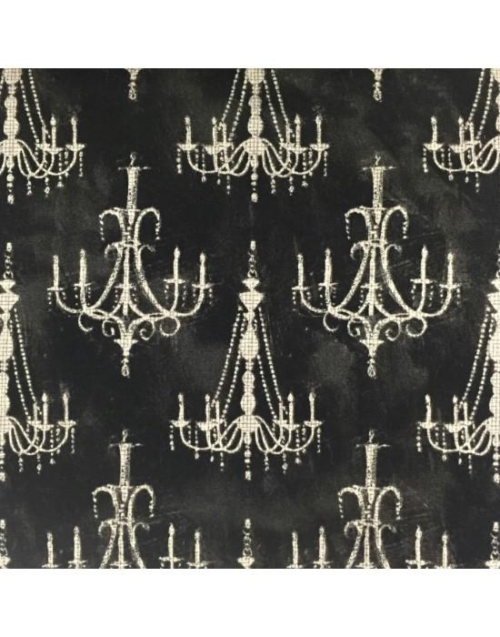 Tela patchwork negra con lámparas
