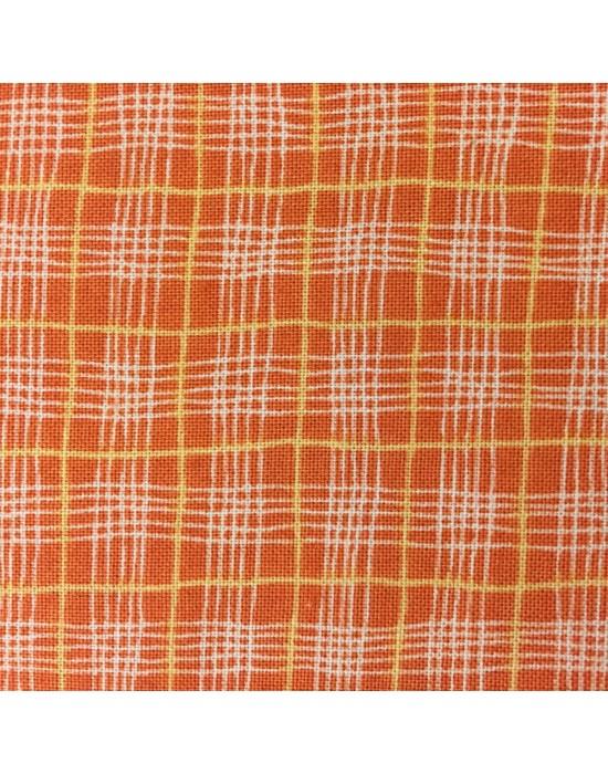 Tela patchwork rayas cruzadas sobre naranja - 10 x 114cm