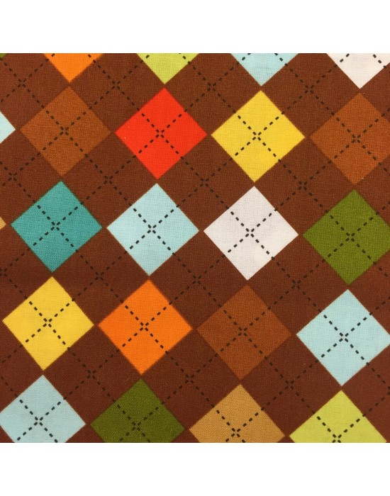 Tela rombos de colores fondo marrón - 10 x 110 cm