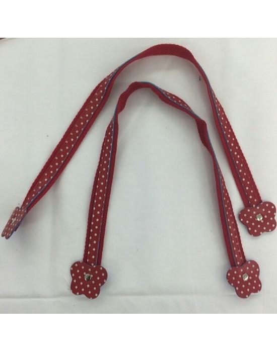 Asa bolso cuero y tela roja flor de 50 cm