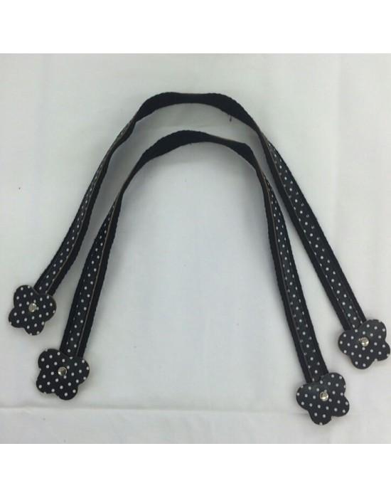 Asa bolso flor de tela y cuero negro de 50cm