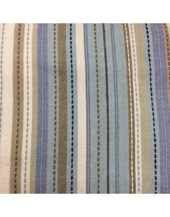 Tela lino rayado marrón y azul - 10 x 160 cm