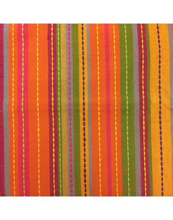 Tela lino rayado multicolor - 10 x 1.60cm