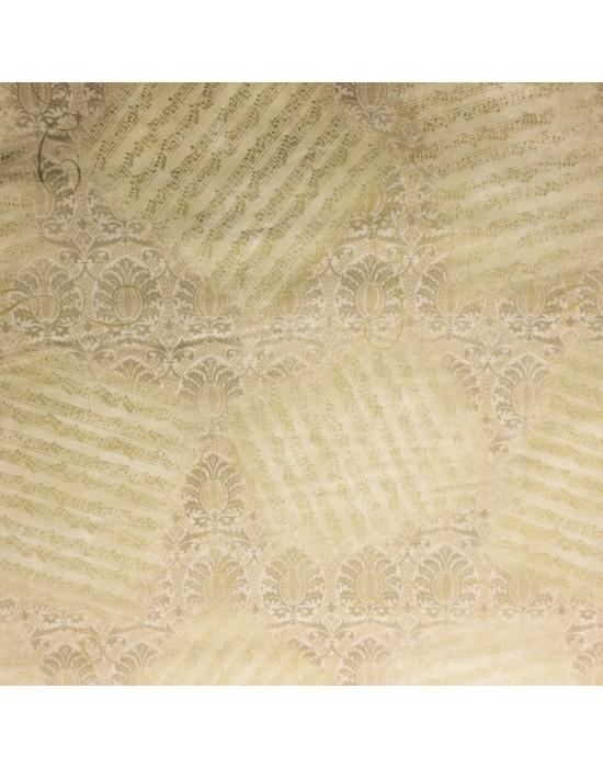 Tela patchwork beige con motivos musicales de partituras - 10 x 114 cm