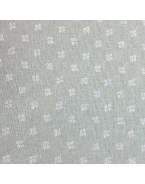 Tela patchwork gris claro estampado flores blancas - 10 x 114 cm