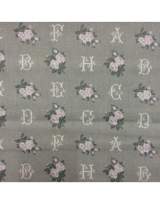 Tela patchwork gris con letras y flores rosas - 10 x 114 cm