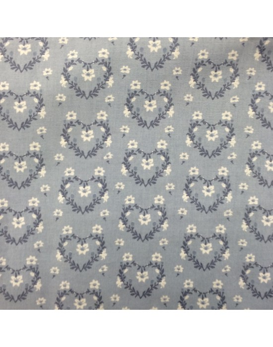 Tela corazones azul con flores blancas - 10 x 145 cm