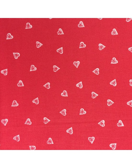 Tela corazones blancos sobre fondo rojo - 10 x 145 cm