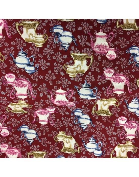 Tela con cafeteras en rojo - 10 x 140 cm