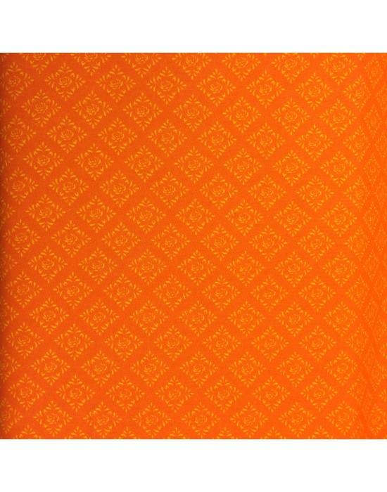 Tela naranja con formas en blanco - 10 x 150 cm