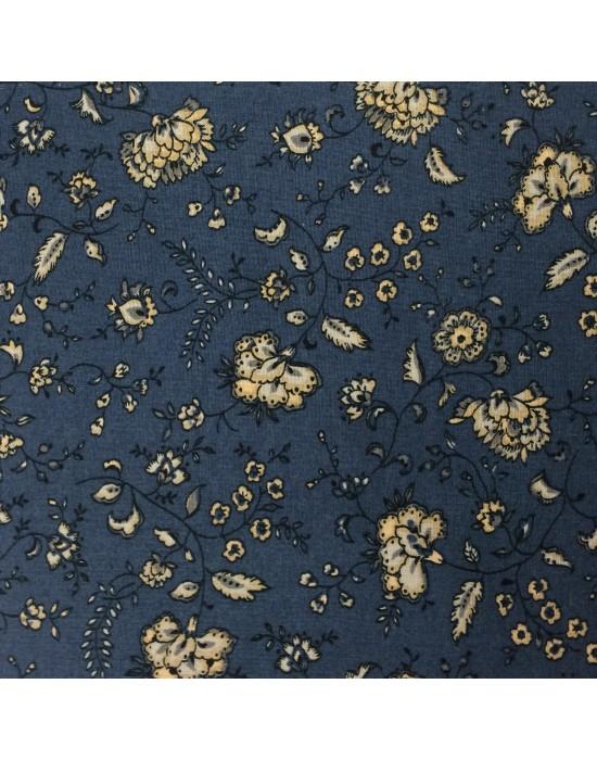 Tela azul con flores en beige - 10 x 150 cm