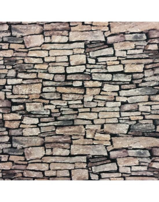 Tela imitación pared con ladrillos - 10 x 116 cm