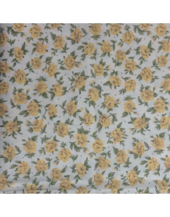 Tela con rosas en amarillo - 10 x 116 cm