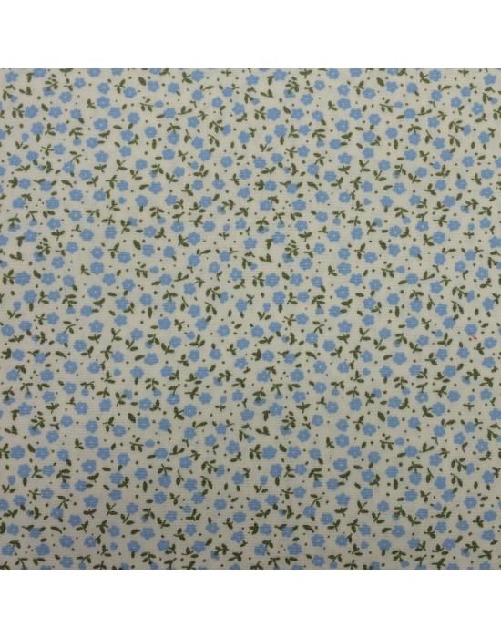 Tela flores azules sobre fondo beige - 10 x 116 cm