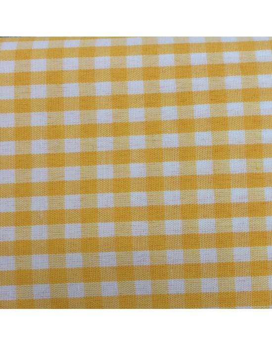 Tela de cuadritos en blanco y amarillo - 10 x 130 cm