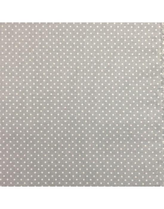 Tela lunares en blanco sobre fondo gris - 10 x 150 cm