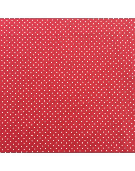 Tela con lunares blancos sobre fondo rojo - 10 x 150 cm