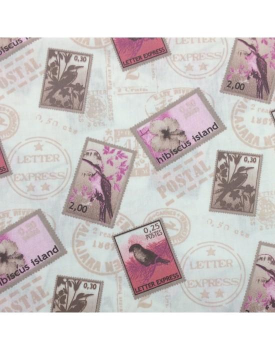 Tela con sellos sobre fondo blanco - 10 x 145 cm