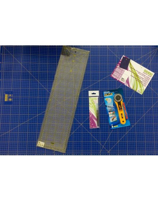 Base de corte 94x64 cm + Regla Rectangular 16x60 cm + Cutter Rotativo 45 mm + Marcador de tela en azul
