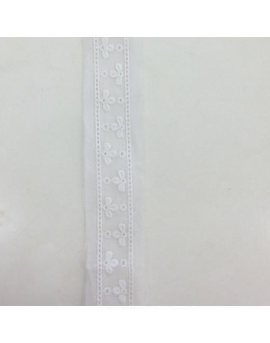 Puntilla bordada en blanco - 10 x 2,70 cm