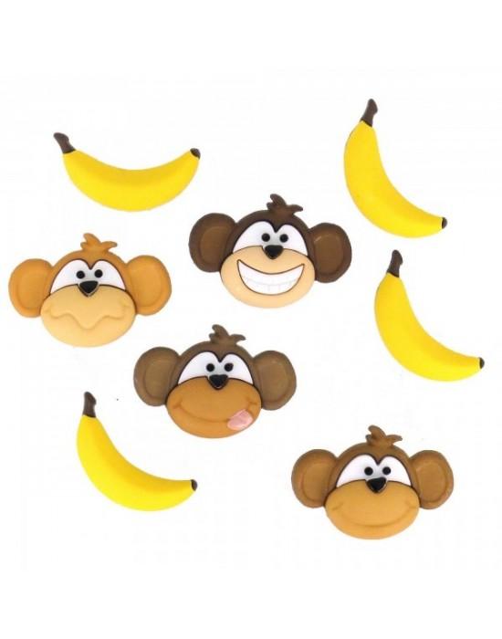 Botones Decorativos Monos y plátanos