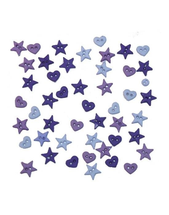 Botones Dress it up- Micro Mini Shapes Purple