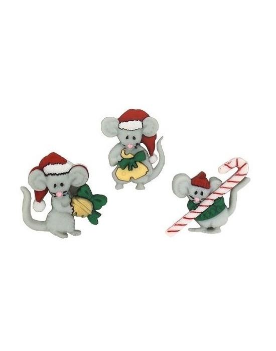 Botones Decorativos  Navidad Ratoncitos