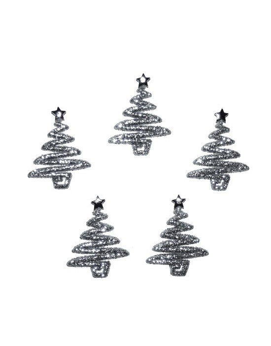 Botones Dress it up- Silver Glitter Trees