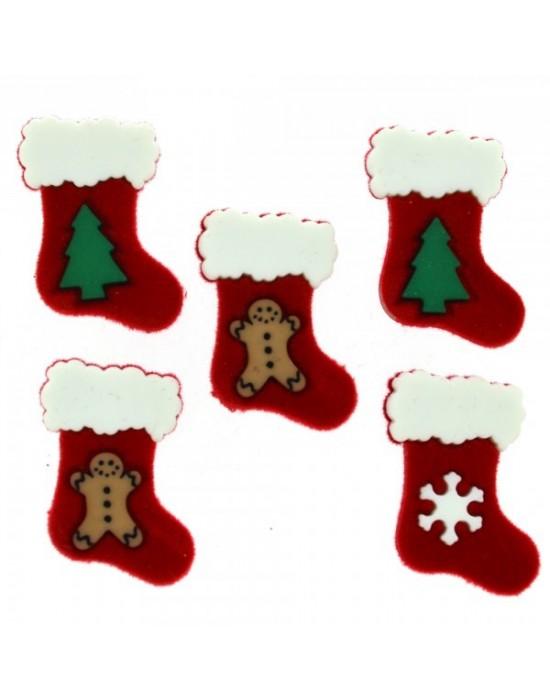 Botón decorativo calcetines papa noel