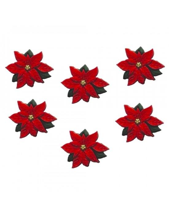 Botones Decorativos Flor Navidad