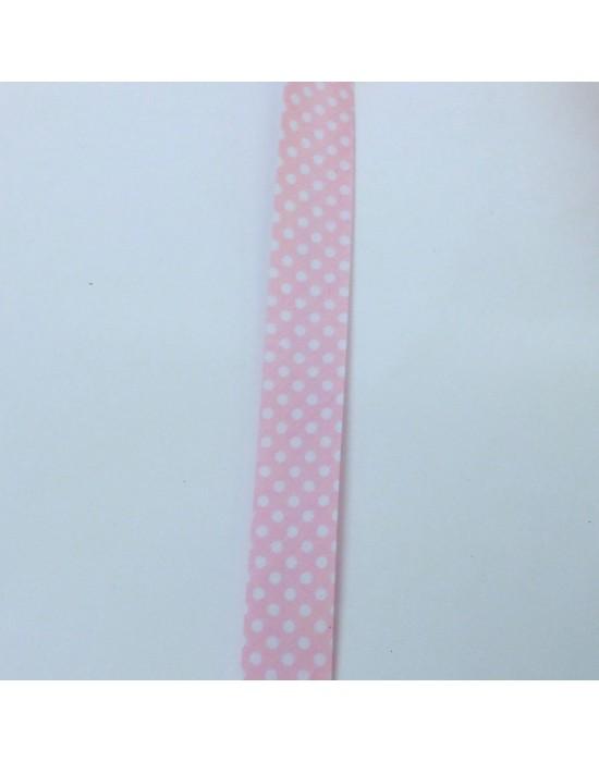 Cinta de biés Rosa con motitas blancas 18 mm