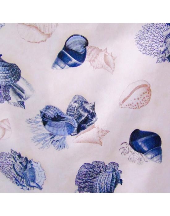 Loneta con estampado grande de conchas en azul 280 cm
