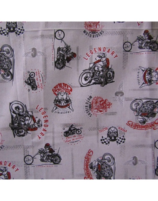 Tela estampada con motos y simbolos - 280 cm