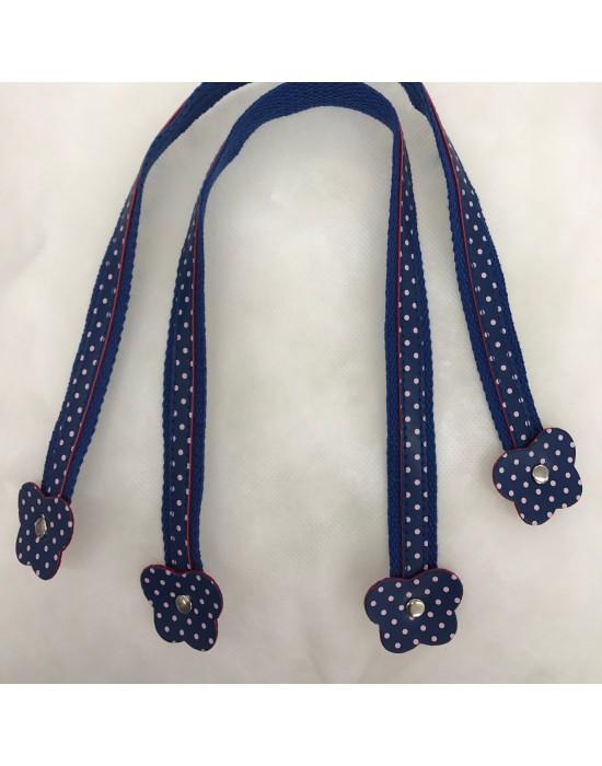 Asa bolso polipiel y tela azul flor de 50 cm